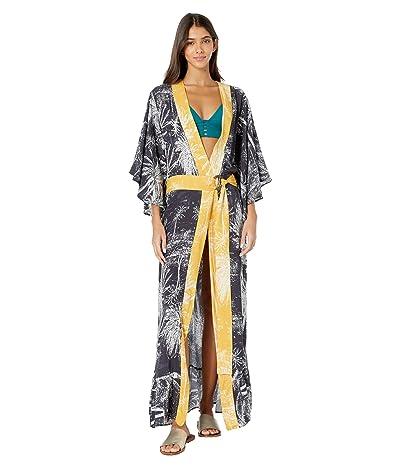 Maaji Eclipse Kimono Cover-Up (Washed Black Palm) Women