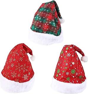 Xgood 3 Packs Christmas Hats Santa Claus Hats Plaid Hats Snowflake Santa Hats Plush Hats for Home Office Christmas Holiday...