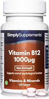 Vitamina B12 1000µg - ¡Bote para 4 meses! - Apto para veganos - 120 Comprimidos - SimplySupplements