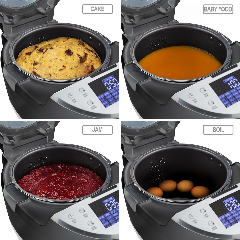 Klarstein Hotpot Robot de Cocina Multifunción 23 en 1 (950 W, 5 L, Control Táctil, Olla Lenta, Vapor, Freidora, Yogurtera, Horno, Arrocera, 23 Programas) - Negro: Amazon.es: Hogar