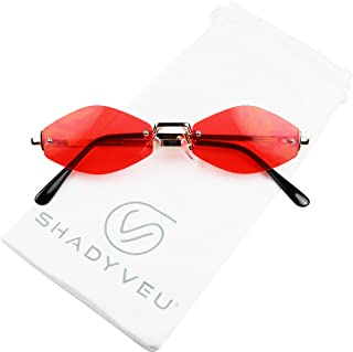 ShadyVEU Slim Narrow Diamond Hexagon Shape Sunglasses Rimless Metal Frame Candy Colored Tint Lens Skinny Fashion Shades (Gold Frame, Red Lens)
