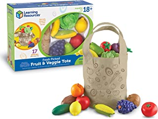 Learning Resources Fresh Picked Fruit & Veggie Tote, Pretend Play Food Set, 17 Piece, Ages 18+ months