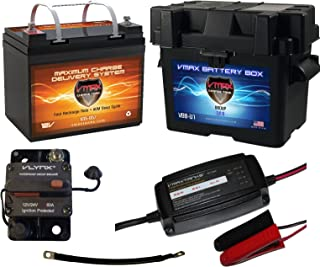 """Boat Battery Kit: VMAX 12V 35ah AGM Battery + VMAX Marine Battery Box + Waterproof Circuit Breaker + 12V 4-Stage Smart Charger + 9"""" 100% Copper Cable. AGM Battery Kit for 18-35lb trolling Motors."""