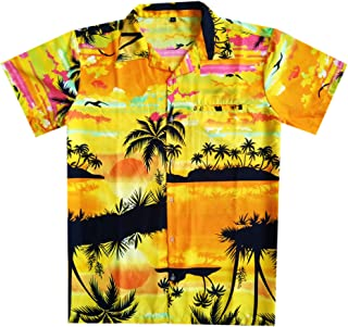 Virgin Crafts Hawaiian Shirts for Men Front Pocket Short Sleeve Beach Palm Aloha
