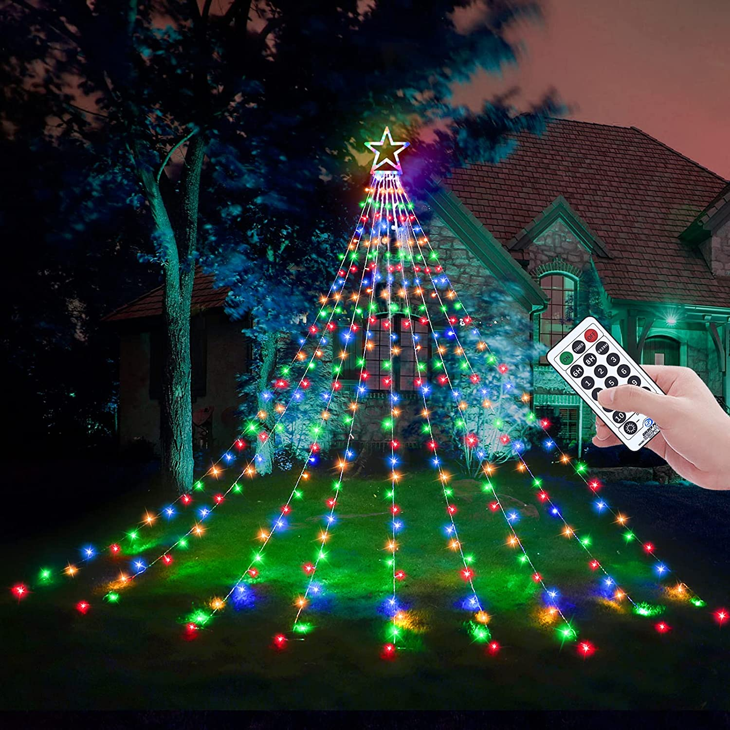 Decute Christmas Decorations Star String Lights 8 Modes and Timer with Remote, Waterproof 320 Led Christmas Tree Toppers Fairy Lights for Indoor Outdoor Yard Garden Backyard Holiday Decor Multi-Color