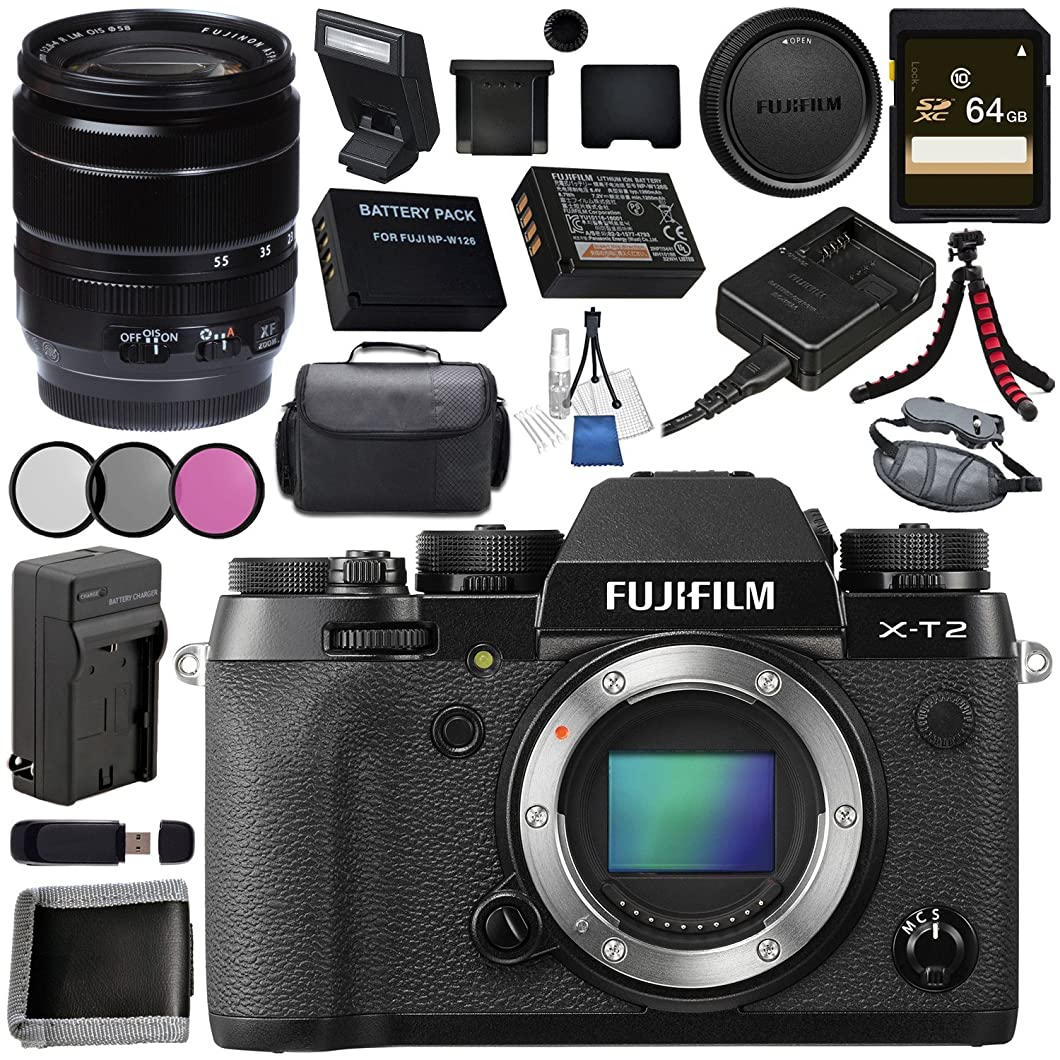 Fujifilm X-T2 Mirrorless Digital Camera (Body Only) 16519247 + Fujifilm XF 18-55mm f/2.8-4 R LM OIS Zoom Lens 16276479 Bundle popnamt43