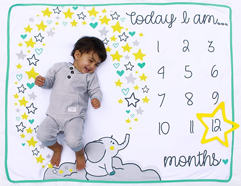 Happily Ever After Baby Monthly Milestone Blanket For First Year Photography With Frame Star Accessory Photo Prop Set 100 Cotton 100 X 120 Centimetres