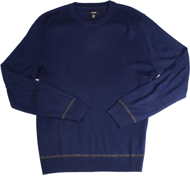 Alfani Mens Sweater Navy Pullover Wool Crewneck AlfaTech Blue XL