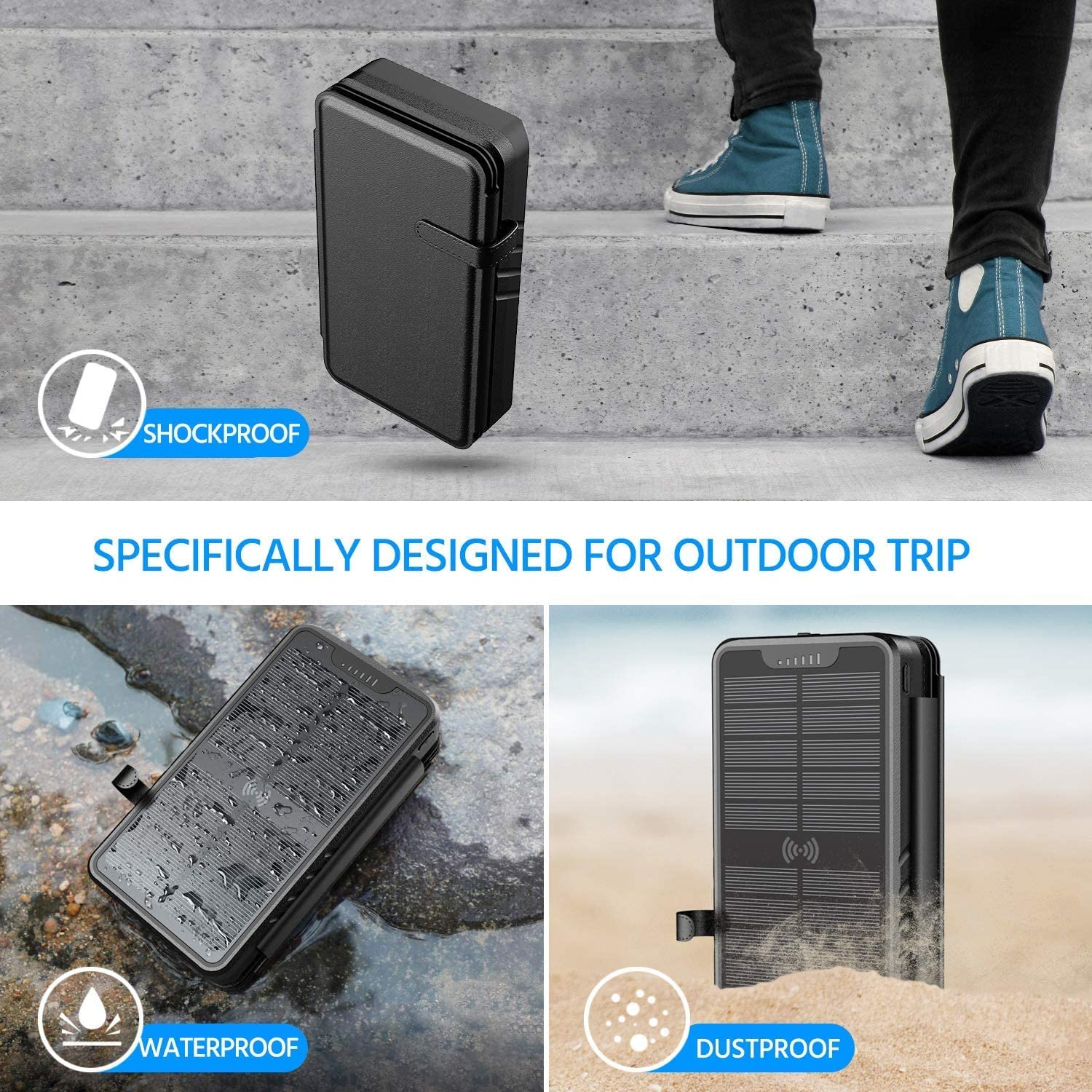 Solar Charger 35800mAh Solar Power Bank with Dual 3.1A Outputs 10W Qi Wireless Charger Waterproof Built-in Solar Panel and Bright Flashlights
