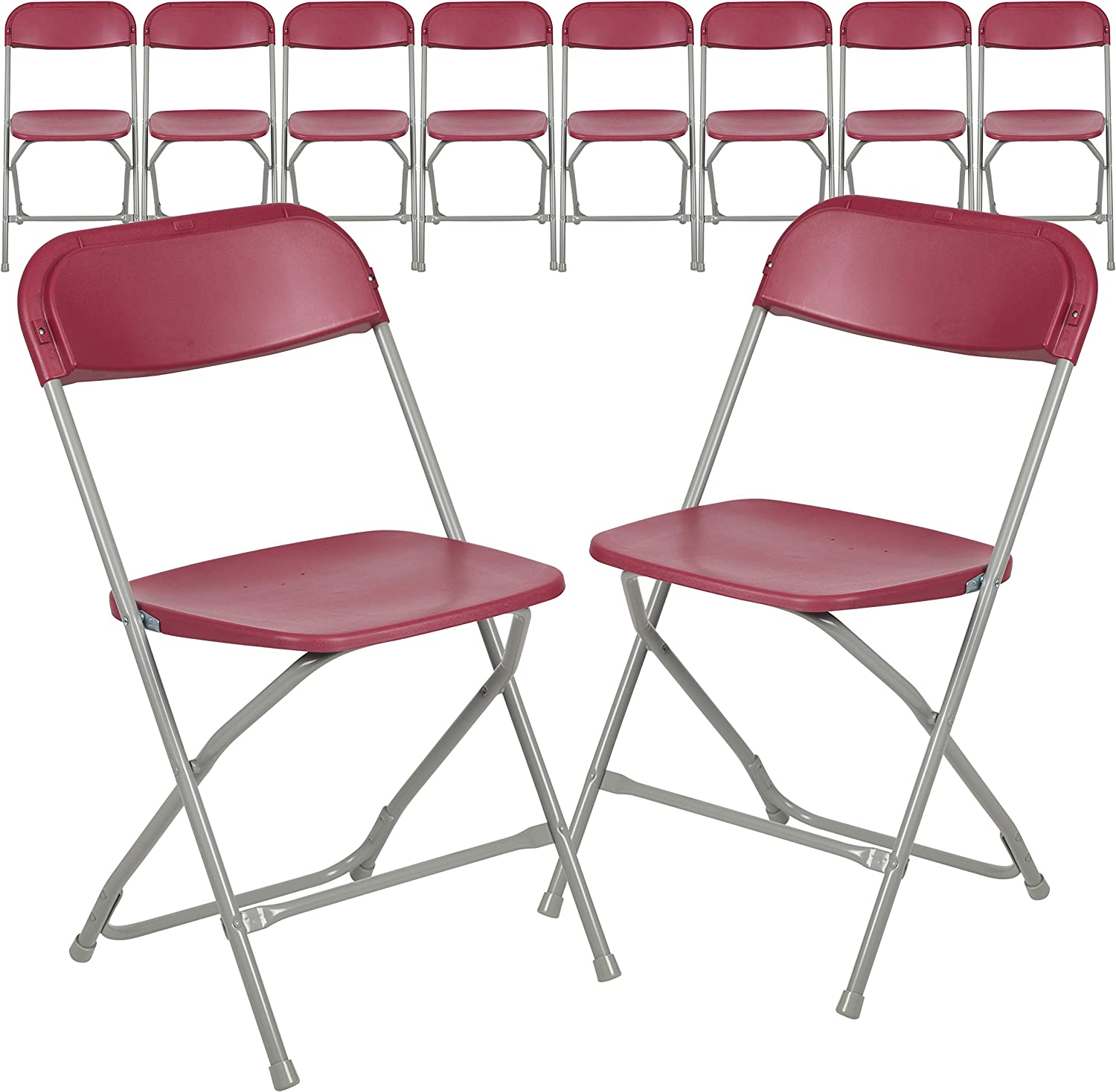 Flash Furniture Hercules Series 5 ☆ very popular Plastic - Chair 10 40% OFF Cheap Sale Red Folding