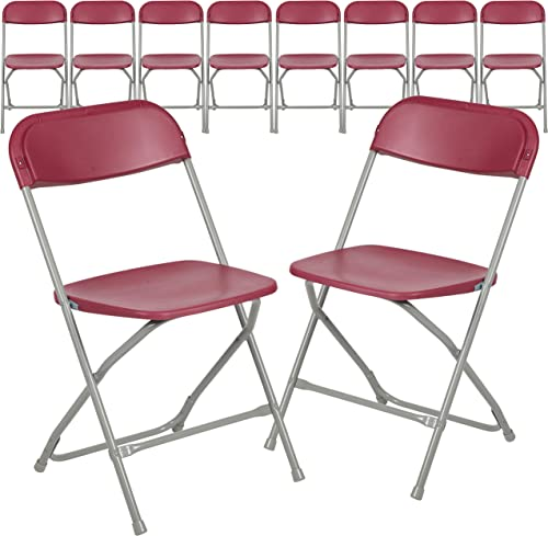 Flash Furniture Hercules Series Plastic Folding Chair - Red - 10 Pack 650LB Weight Capacity Comfortable Event Chair-L...