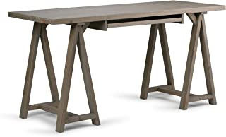Simpli Home Sawhorse Solid Wood Modern Industrial 60 inch Wide Writing Office Desk in Distressed Grey