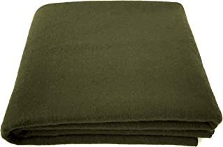 EKTOS 90% Wool Blanket, Olive Green, Warm & Heavy 4.0 lbs, Large Washable 66