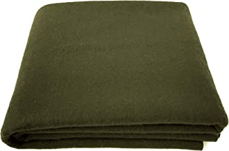 EKTOS 90% Wool Blanket, Olive Green, Warm & Heavy 4.0 lbs, Large Washable 66