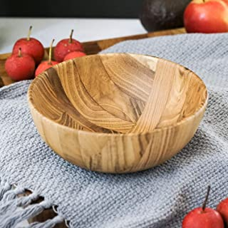 """BILL.F Wood Bowl Teak Wooden Bowl 6 Inch Wood Serving Bowl for Fruit Salad 6"""" Diameter by 2.2"""" Height"""