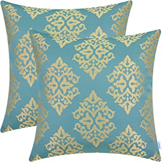 CaliTime Pack of 2 Soft Jacquard Throw Pillow Covers Cases for Couch Sofa Home Decoration Vintage Diamond Shape Damask Floral 18 X 18 Inches Teal Gold