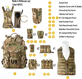 Akmax.cn US Army Molle II Rifleman FLC and Assault Hydration Pack- Tactical Backpack Multicam