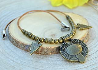Collana donna con pendente vichingo, girocollo tribale in bronzo