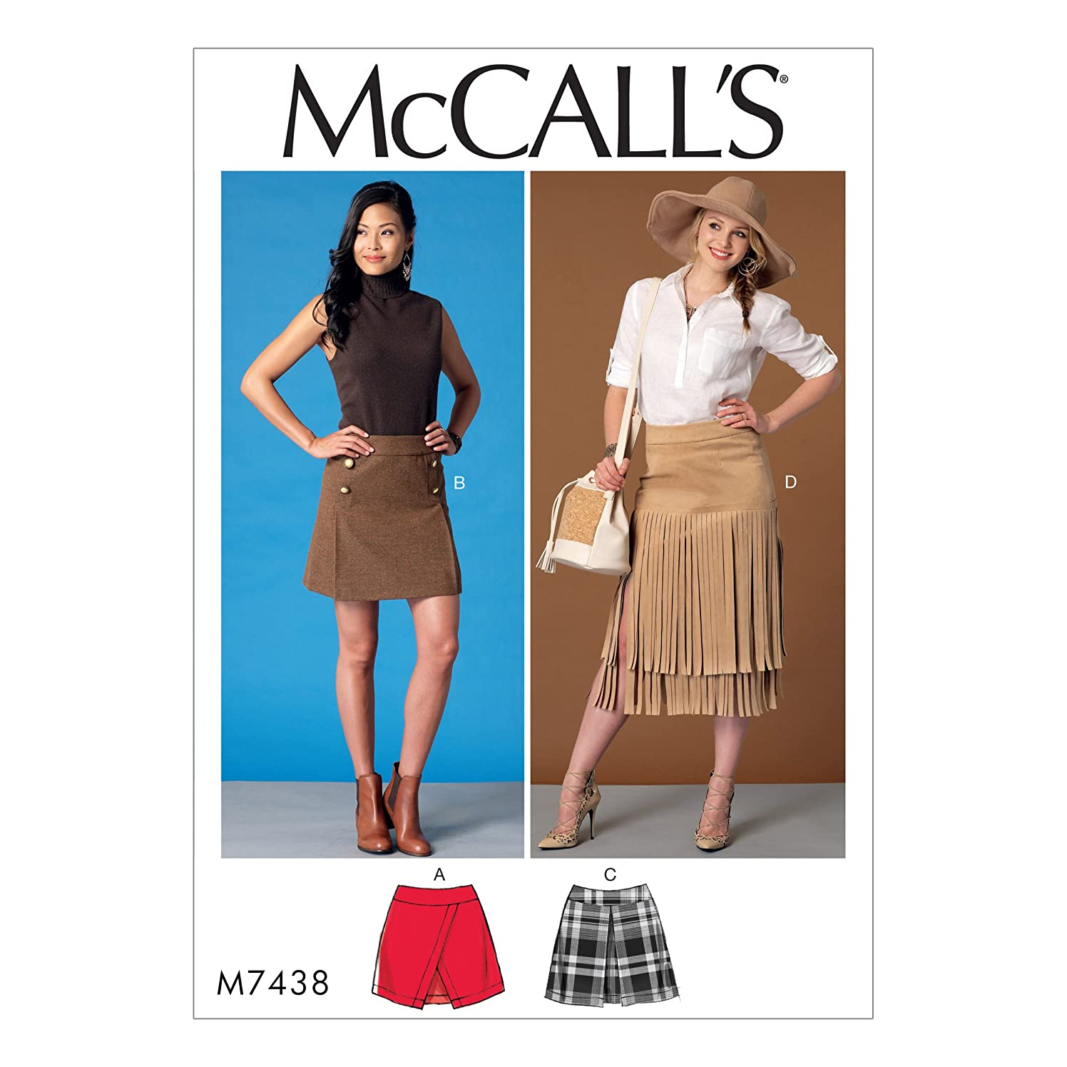 MCCALLS M7438 (SIZE 14-22) Misses' Overlay, Pleat or Fringe Skirts SEWING PATTERN