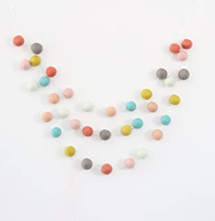 """She is a Wildflower"" Handmade Felt Ball Garland by Sheep Farm Felt, Multicolored Pom Pom Garland- Gray, Mint, Chartreuse, Pink, Aqua, Mint, Coral, Peach. 2.5 cm balls."