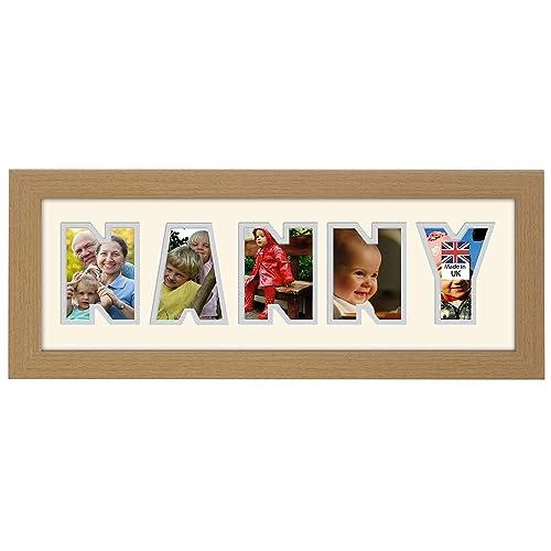 Nanny Photo Frame Light Oak Wood Finish 20 X 8 Inch Gift Birthday Nan Made