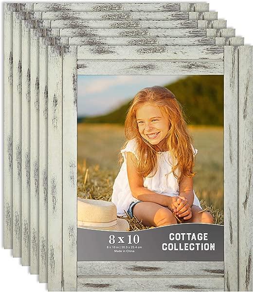 Icona Bay 8x10 相框乡村相框套装天然真木架 6 套小屋收藏 6 包乡村奶油