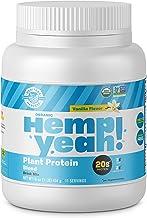 Manitoba Harvest Hemp Yeah! Organic Plant-Based Protein Powder, Vanilla, 16oz; with 20g of Protein, 3g of Fiber & 2g Omegas 3&6 Per Serving, Preservative Free, Non-GMO