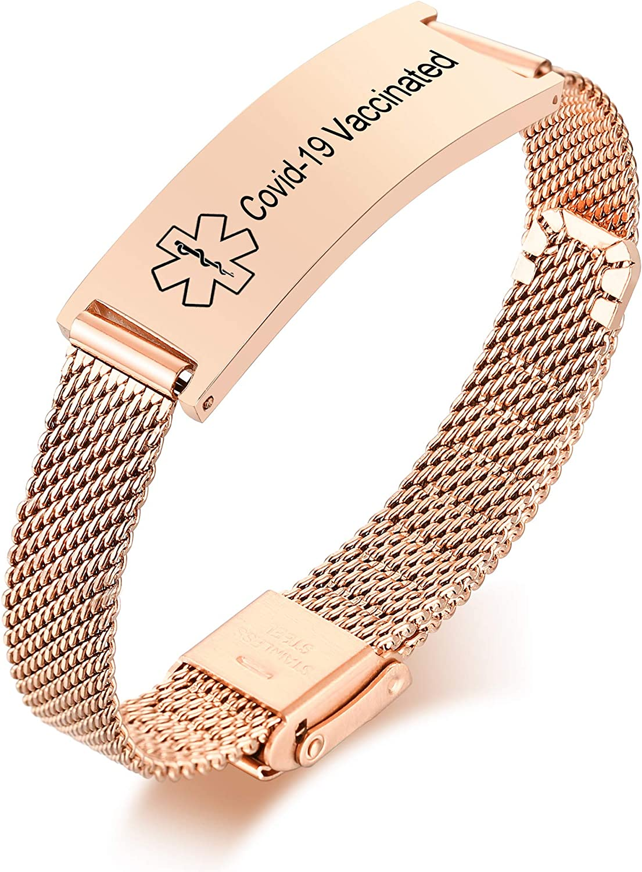 VNOX Medical Alert Bracelets for Men & Women Kids with Free Engraving Adjustable Stainless Steel Mesh Emergency Medical ID Bracelets Wristband