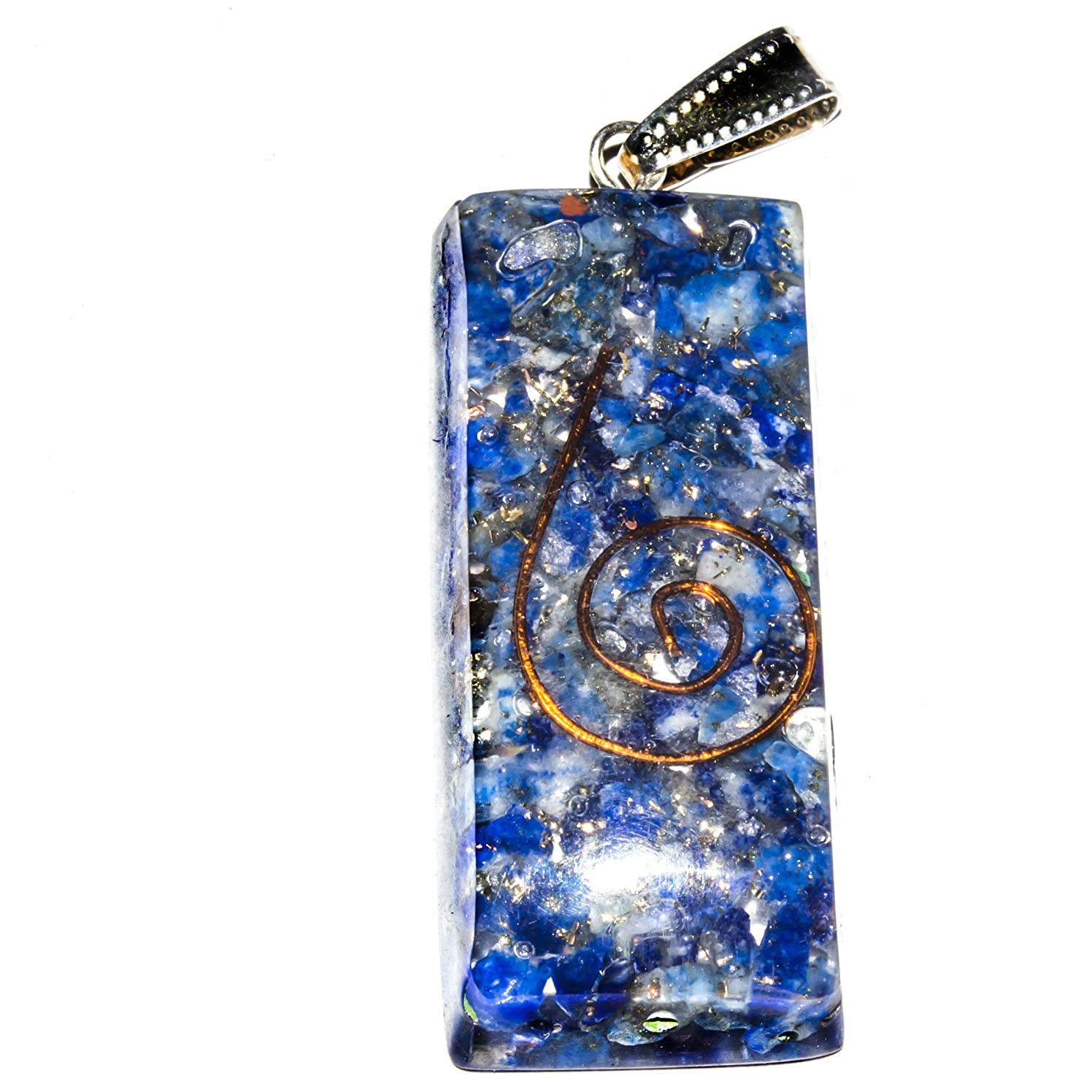 Crocon Lapis Orgone Rectangle Tower Shape with Copper Coil for Crystal Healing Reiki Love Prosperity Success Abundance EMF Protection