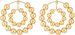 Multi Beaded Double Hoop Post Earrings