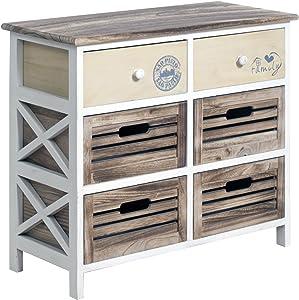 Nuovo Cómoda REBECCA FAMILY con 2 cajones beige con estampado decorativo y 4 cajones de madera clara de estilo vintage (Cod. RE4339)