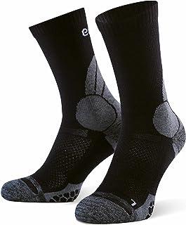Eono Essentials Calcetines de Senderismo de Lana Merino (2 Pares), Calcetines de Trekking para Hombres y Mujeres, para Actividades al Aire Libre, Uso Diario, Black, 35-38