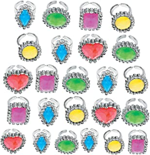Kicko Colorful Rhinestone Rings 1 Inch - Pack of 24 - Assorted Colors and Shapes Rhinestone Gem Rings - for Kids - Great Party Favors, Bag Stuffers, Fun, Toy, Gift, Prize, Dress-up Jewelry