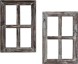 MyGift Rustic Whitewash Wood Window Frame Wall Decor, Set of 2