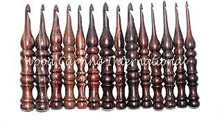 Wood Carving International - Lot de 13 crochets en bois de palissandre   Crochets en bois pour tricot et crochet