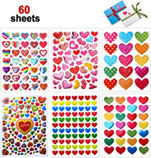 Valentines Heart Stickers, 60 Sheets Valentine's Day Love Decorative Stickers for Anniversaries, Party, Wedding (Colorful)