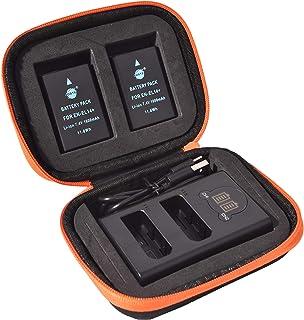 DSTE EN-EL14 EN-EL14A Replacement Battery (2 Pack) and LED Dual Charger Kit Compatible with Nikon D3100 D3200 D3300 D3500 D5100 D5200 D5300 D5500