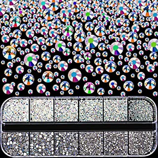 3360pcs Nail Rhinestones, YGDZ AB Colored Round Nail Gems Flatback Crystal Glass Charms Beads Stones for Nail Art Decoration Crafts Eye Makeup, 280 Each (Mix SS3 4 5 6 8 10) with 1 Storage Case