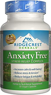 Ridgecrest Anxiety Free, Herbal and Nutrition Stress Support, 60 Vegan Capsules