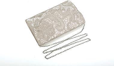 Nodykka Clutch-Handtasche für Hochzeit, plissiert, Spitze, Abendtasche, Cross-Body