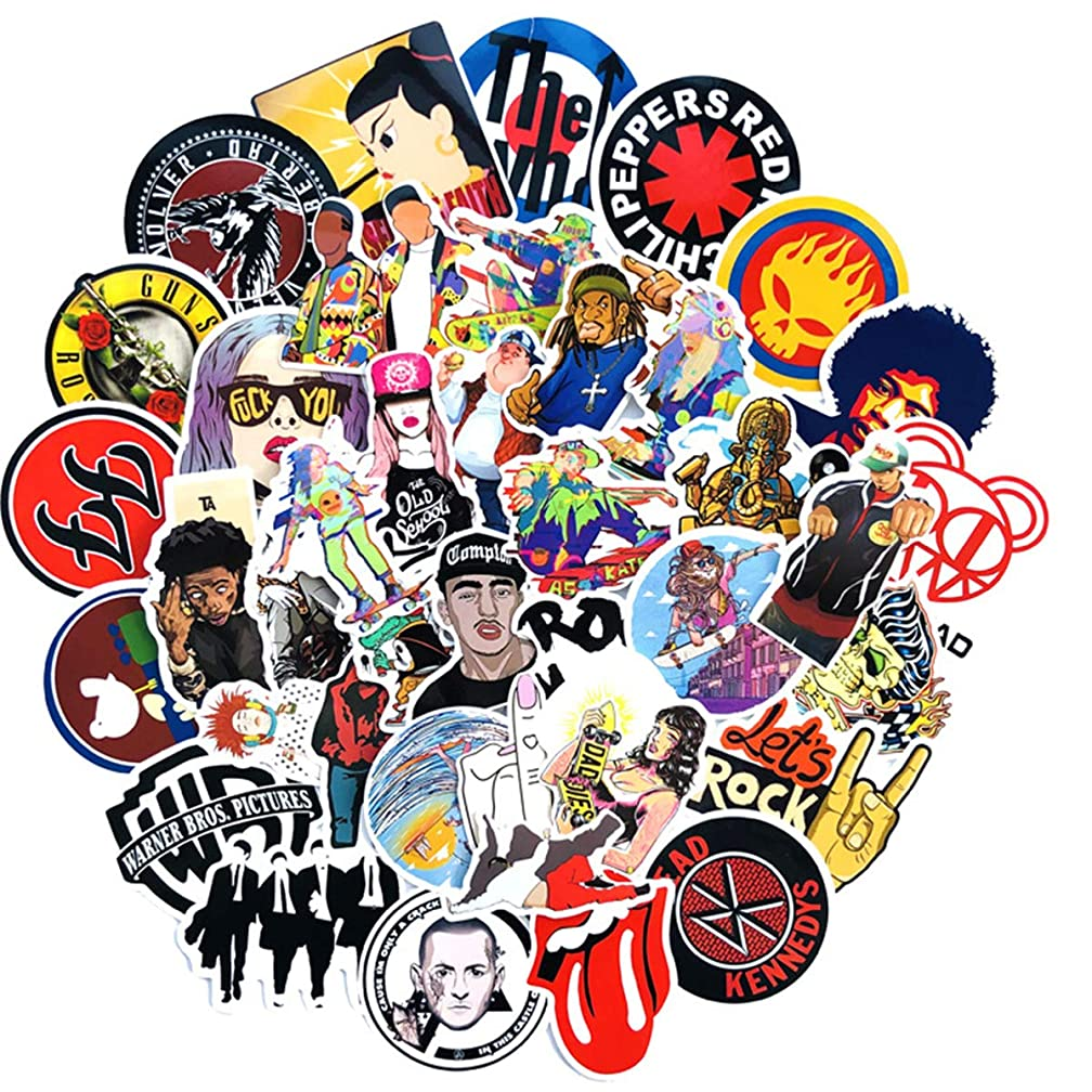 Cool Sticker 100pcs Band Music Rock and Roll Vinyl Fashion Decals for Skateboard Guitar Travelcase Door Laptop Luggage Car Bike Bicycle Stickers (Band)