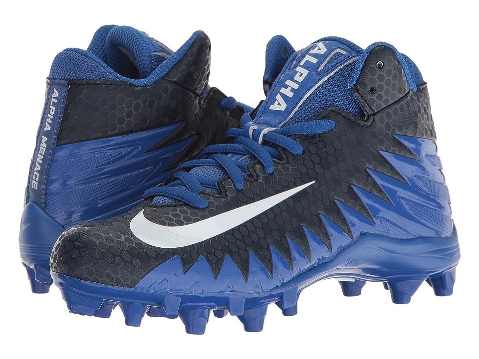 Nike Kids Alpha Menace Varsity Mid Football (Little Kid/Big Kid) (Game Royal/White/Collegiate Navy/White) Kids Shoes