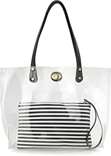 PVC Clear Women's Tote With Striped Zipper Clutch Weekender Shoulder Handbag
