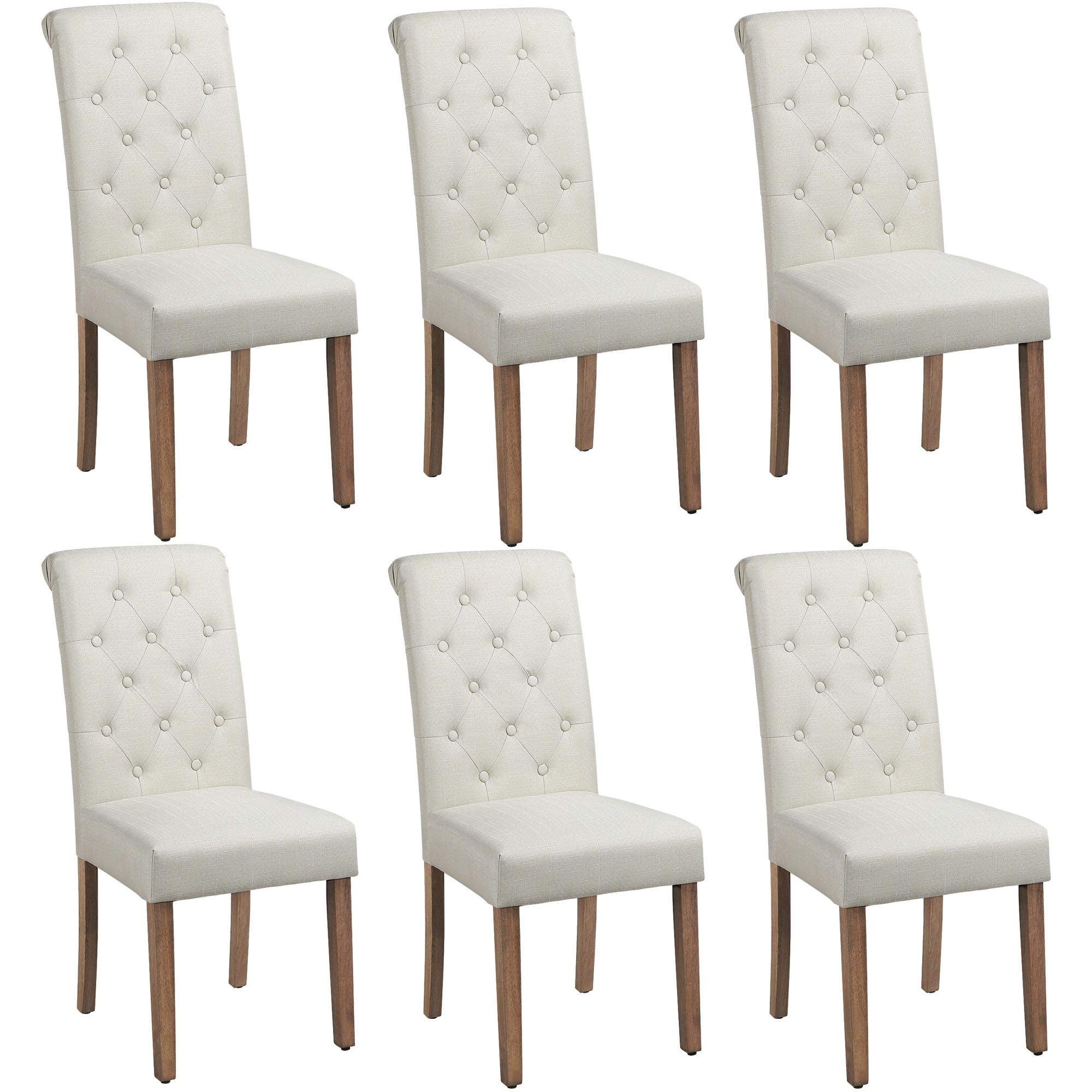 Yaheetech Solid Wood Dining Chairs Button Tufted Parsons Diner Chair Upholstered Fabric Dining Room Chairs Kitchen Chairs Set Of 6 Beige Buy Online In Dominica At Dominica Desertcart Com Productid 203020874