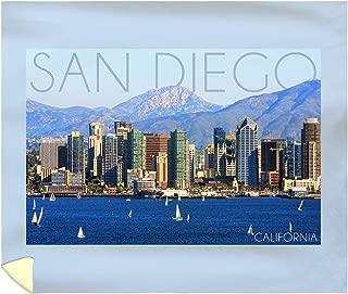Lantern Press San Diego, California - Mountains and Sailboats 56011 (88x104 King Microfiber Duvet Cover)