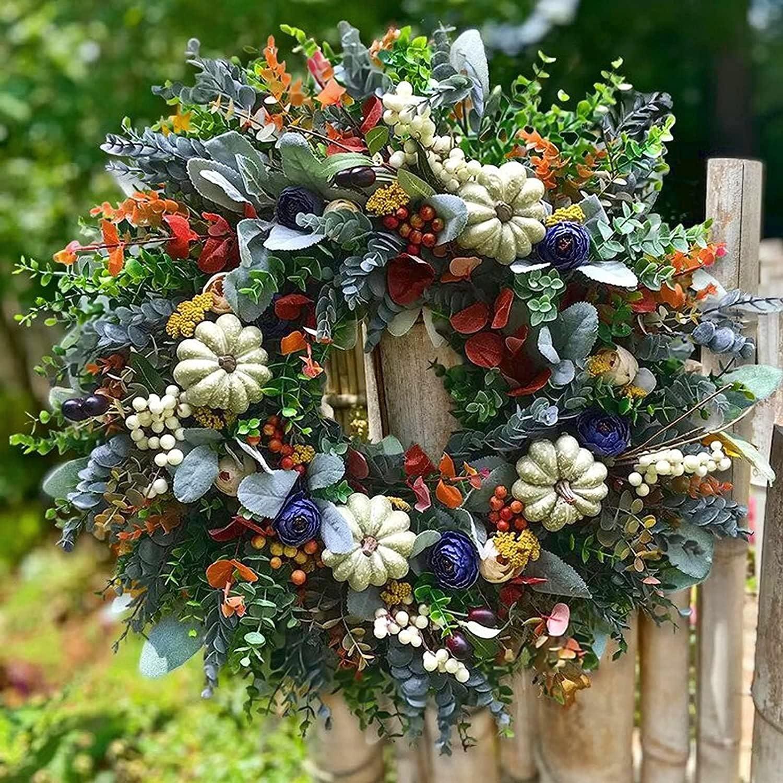 EVAGNEE White Pumpkins Ranunculus Wreath Fall Decor for Front Door, Hand Weaving Fall Wreaths, Fall Wreaths for Farmhouse Outdoor Indoor Wall Window Door Hanger(18in18in)