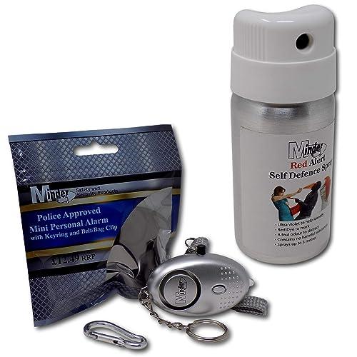 Minder Self Defence Criminal Identifier Spray - UK Legal Alternative to Pepper Spray - Personal Security Safety Deterrent (1 Red Alert Spray + 1 Alarm)