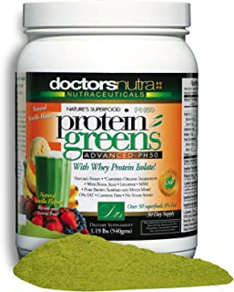 PH50 Protein Greens Drink with Certified Organic Ingredients by Doctors Nutra Nutraceuticals, 1.19 Pounds (540 Grams) 50 Superfoods with Probiotics and Digestive Enzymes, Natural Vanilla Flavor