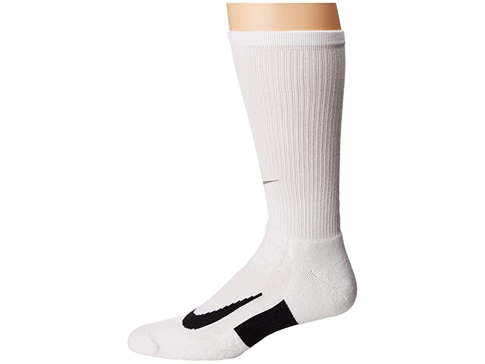 Nike Elite Running Cushion Crew Socks (White/Black/Black) Crew Cut Socks Shoes