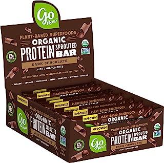 Go Raw Protein Bars, Dark Chocolate | Gluten Free Energy Bar | Organic | Vegan | Natural (12 Bars)